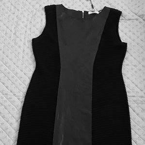 Calvin Klein stretch faux leather dress sz M black
